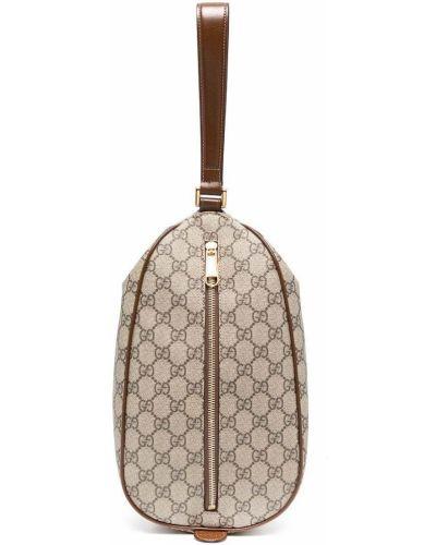 Z paskiem brązowy torba sprzęgło z prawdziwej skóry z gniazdem Gucci