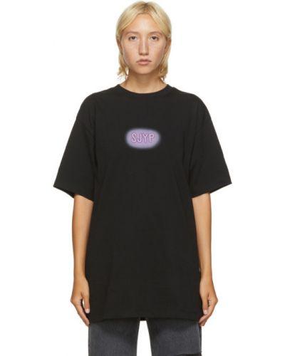 С рукавами черная рубашка с вышивкой с воротником Sjyp
