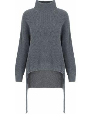 Кашемировый серый свитер с воротником свободного кроя Free Age