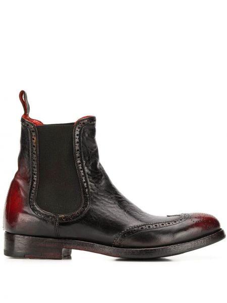 Кожаные черные ботинки на каблуке на каблуке эластичные Alberto Fasciani