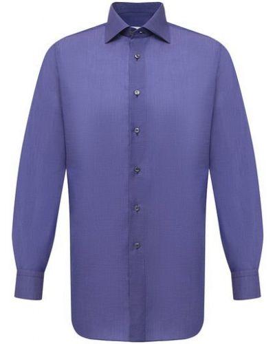 Фиолетовая хлопковая рубашка Brioni