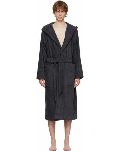 Czarny długi szlafrok z kapturem bawełniany Tekla