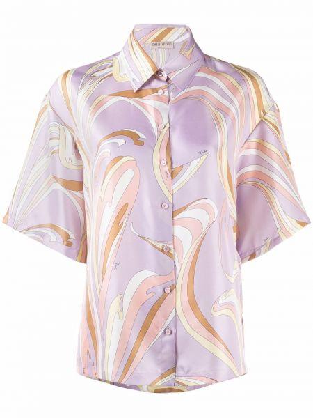 Фиолетовая рубашка с коротким рукавом с короткими рукавами Emilio Pucci