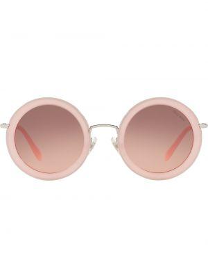 Прямые розовые солнцезащитные очки круглые металлические Miu Miu Eyewear