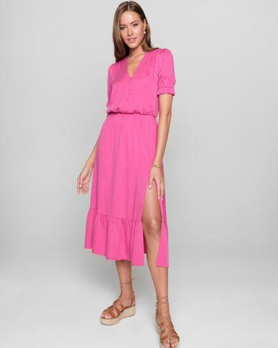 Розовое платье с разрезом на пуговицах Conte