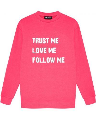 Розовый хлопковый свитшот с надписью ли-лу