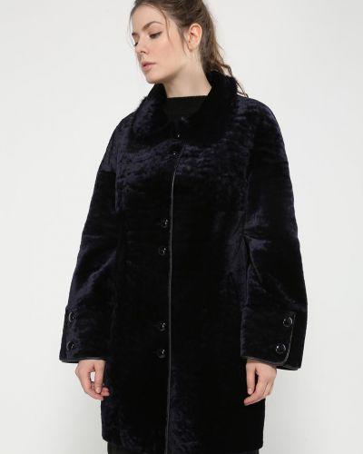 Синее кожаное пальто с воротником Aliance Fur