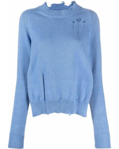 Хлопковый синий джемпер с рукавом реглан Maison Margiela