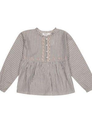 Хлопковая бежевая блузка в полоску Bonpoint