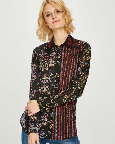 Блузка с длинным рукавом прямая черная Desigual