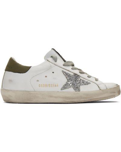 Кожаные белые кроссовки на каблуке Golden Goose
