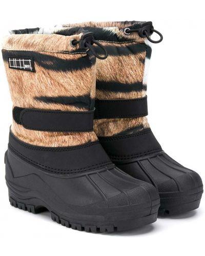 Черные зимние ботинки из искусственного меха на шнурках с нашивками Molo