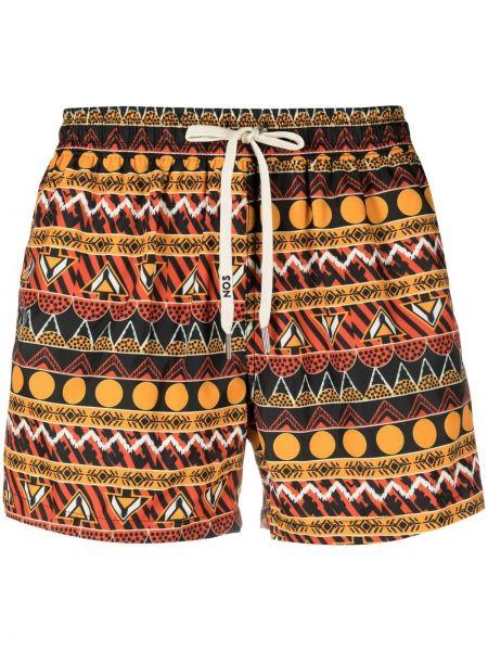 Оранжевые плавки-боксеры с карманами с нашивками Nos Beachwear