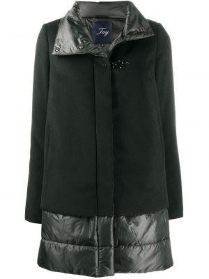 Шерстяное черное длинное пальто с воротником на пуговицах Fay