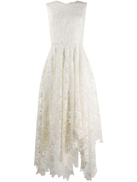 Асимметричное ажурное платье миди без рукавов с вырезом Alexander Mcqueen