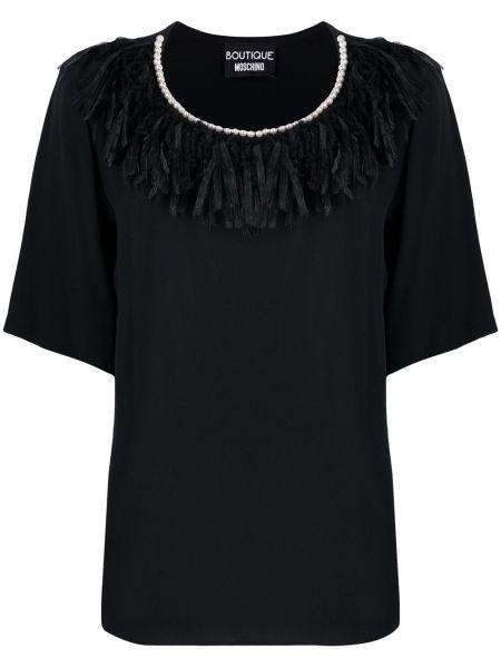Шелковая с рукавами черная рубашка Moschino