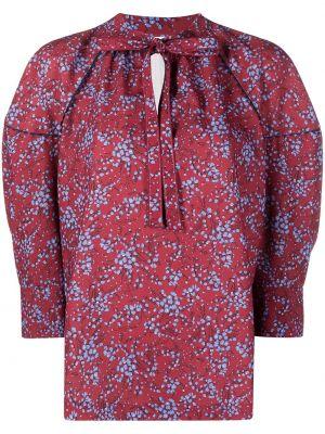 Красная блузка с вырезом в цветочный принт See By Chloé