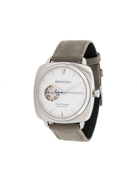Белые часы с кожаным ремешком круглые Briston Watches