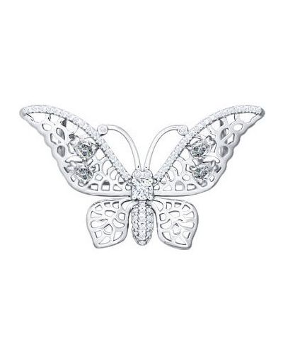 Серебряная брошь с камнями бабочка Sokolov
