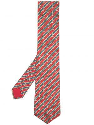 Żółty krawat w paski z jedwabiu Hermes