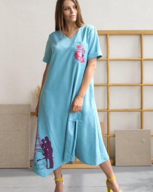 Льняное платье миди на молнии с карманами свободного кроя Ellcora