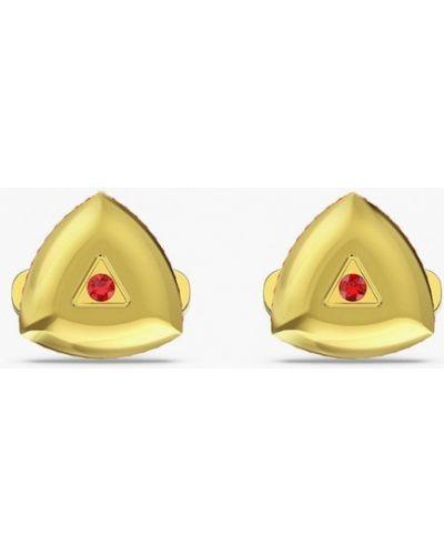 Запонки золотые Swarovski