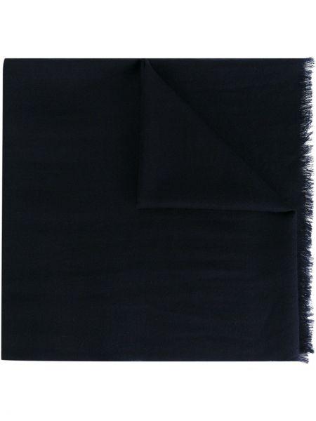 Кашемировый темно-синий шарф с бахромой Fashion Clinic Timeless