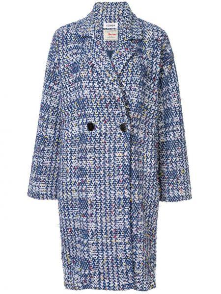 Синее длинное пальто с капюшоном на пуговицах Coohem
