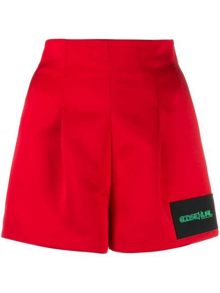 Красные шорты с нашивками из вискозы Christopher Kane