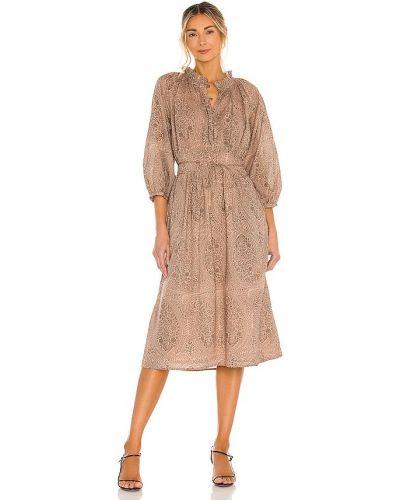 Хлопковое деловое платье миди с подкладкой Cleobella