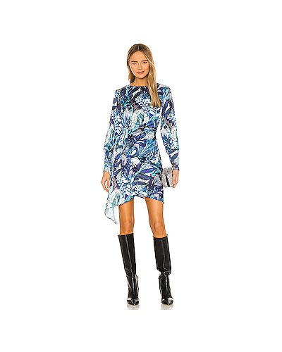 Синее платье мини на пуговицах с драпировкой Kendall + Kylie