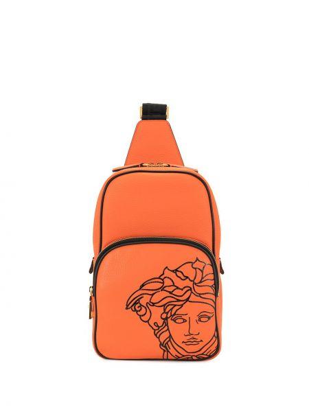Pomarańczowy plecak skórzany Versace