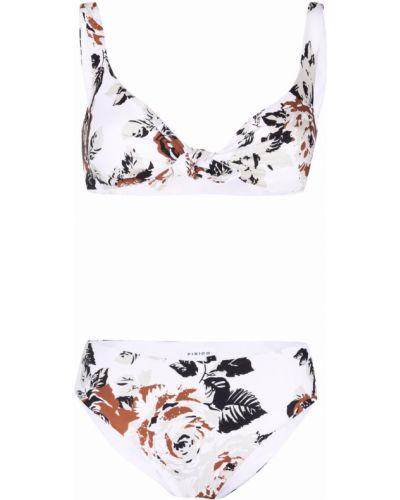 Biały strój kąpielowy dwuczęściowy w kwiaty bez rękawów Fisico