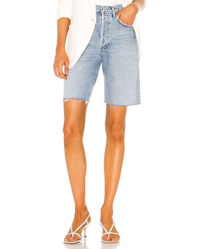 Bawełna bawełna niebieski dżinsowe szorty z kieszeniami Agolde