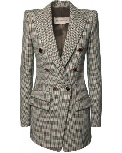 Шерстяной удлиненный пиджак с карманами на кнопках Alexandre Vauthier