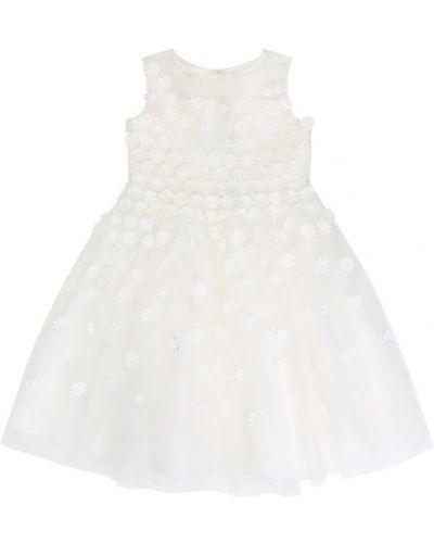 Платье с поясом в рубчик шелковое Oscar De La Renta