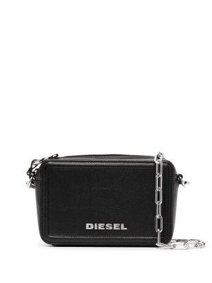 С ремешком черная кожаная сумка через плечо Diesel