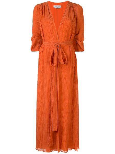 Pomarańczowa sukienka midi rozkloszowana z jedwabiu Gabriela Hearst
