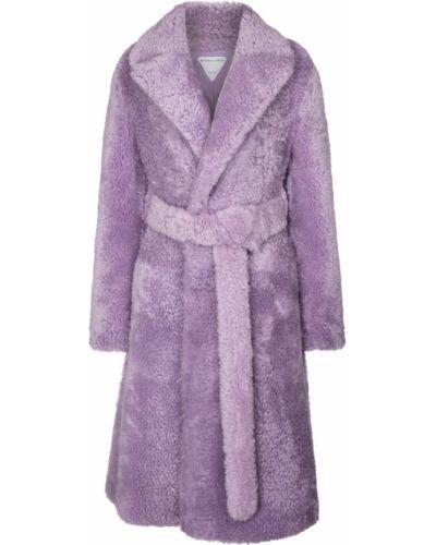 Фиолетовое кожаное пальто Bottega Veneta