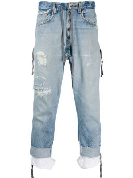 Niebieskie jeansy bawełniane perły Greg Lauren