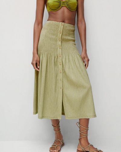 Zielona spódnica midi bawełniana zapinane na guziki Mango