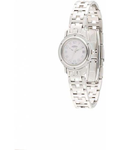 Кожаные серебряные часы круглые Hermès