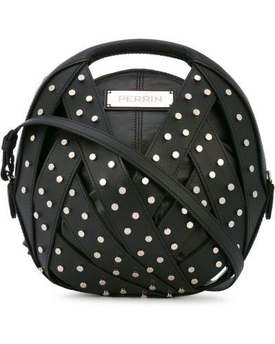 Черная сумка-тоут с заклепками Perrin Paris