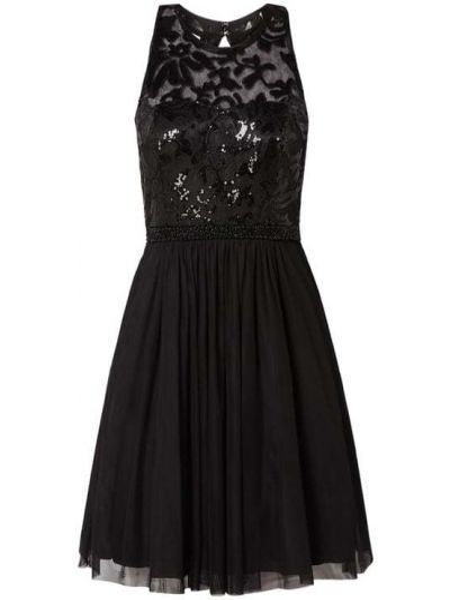 Czarna sukienka koktajlowa rozkloszowana z cekinami V.m.