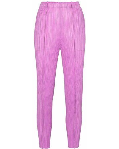 Укороченные брюки - фиолетовые Pleats Please Issey Miyake