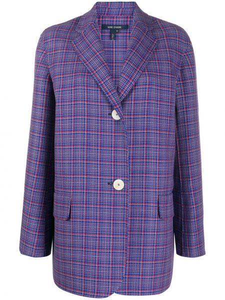 Синий удлиненный пиджак оверсайз с карманами Sofie D'hoore