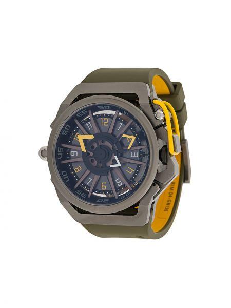 Zielony zegarek mechaniczny srebrny klamry Mazzucato