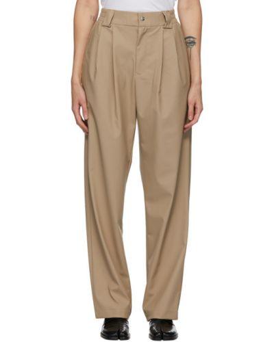 Плиссированные бежевые брюки с карманами Rains