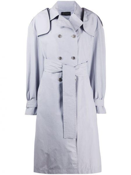 Хлопковый длинное пальто с карманами двубортный Mr & Mrs Italy
