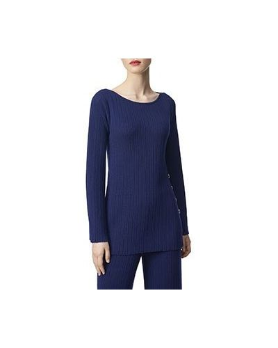 Костюмный синий шерстяной брючный костюм Luisa Spagnoli